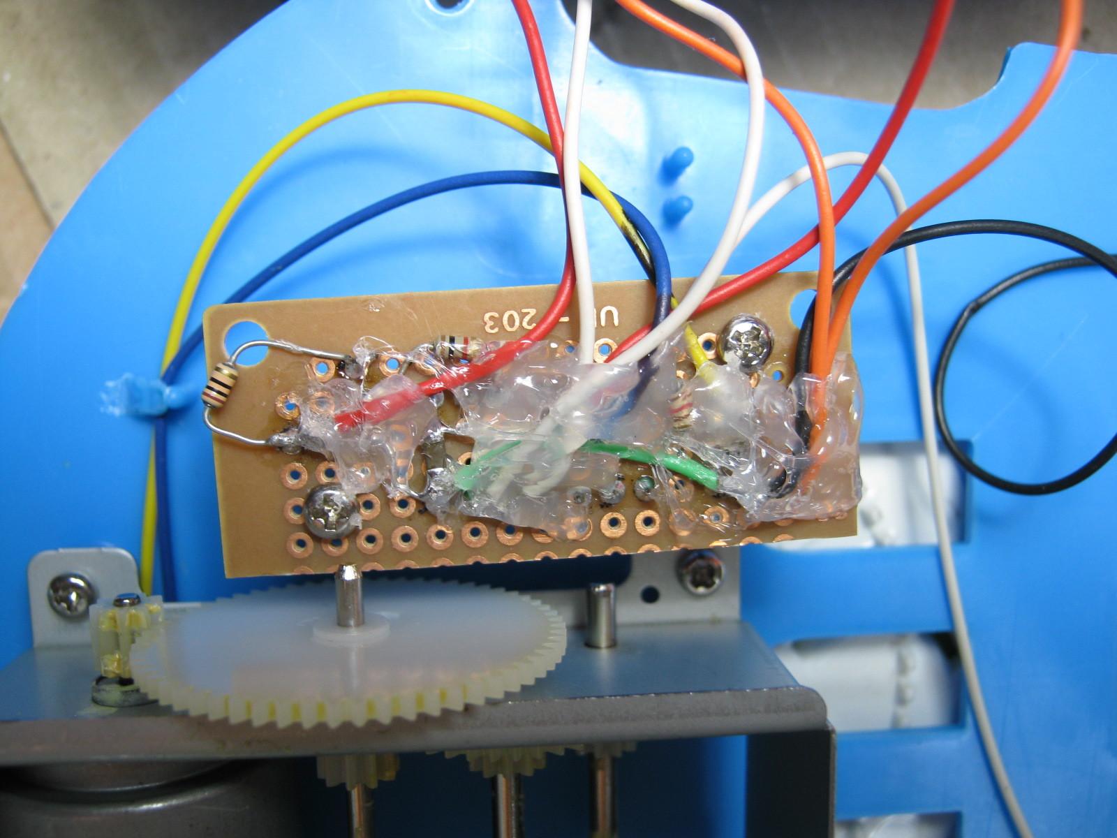 三輪車のハンドルに付ける鳴り物飾り(マイコン換装)基板裏