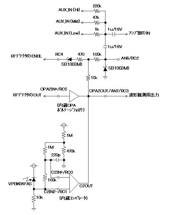 RF+IRチェッカーの製作回路図処理部1