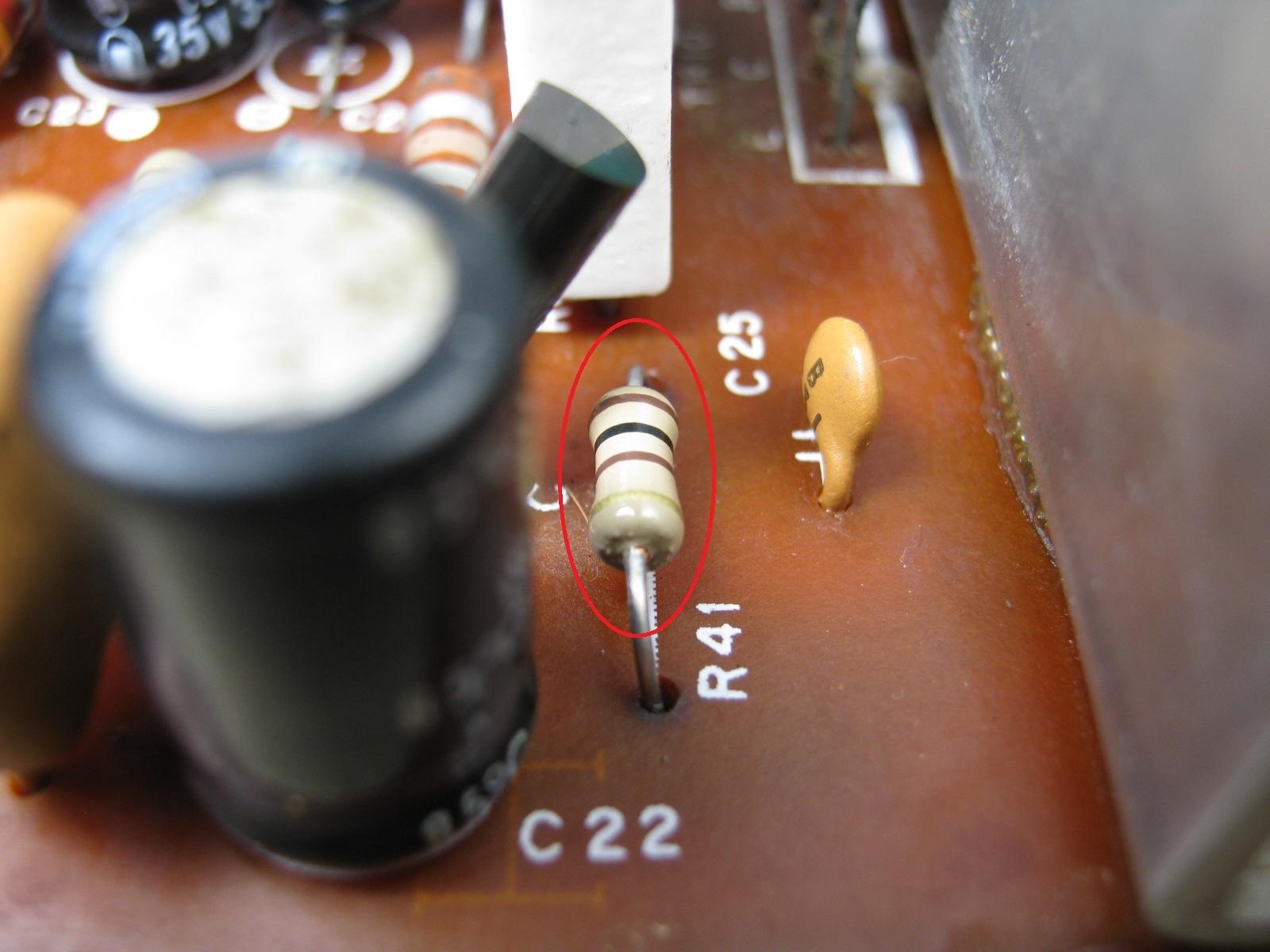 COLUMBIA電気ピアノ(抵抗不良)基板抵抗2印付き