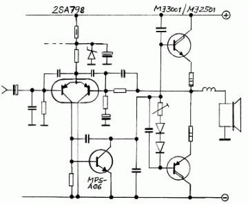 COLUMBIA電気ピアノ(抵抗不良)パワーアンプ概略回路図