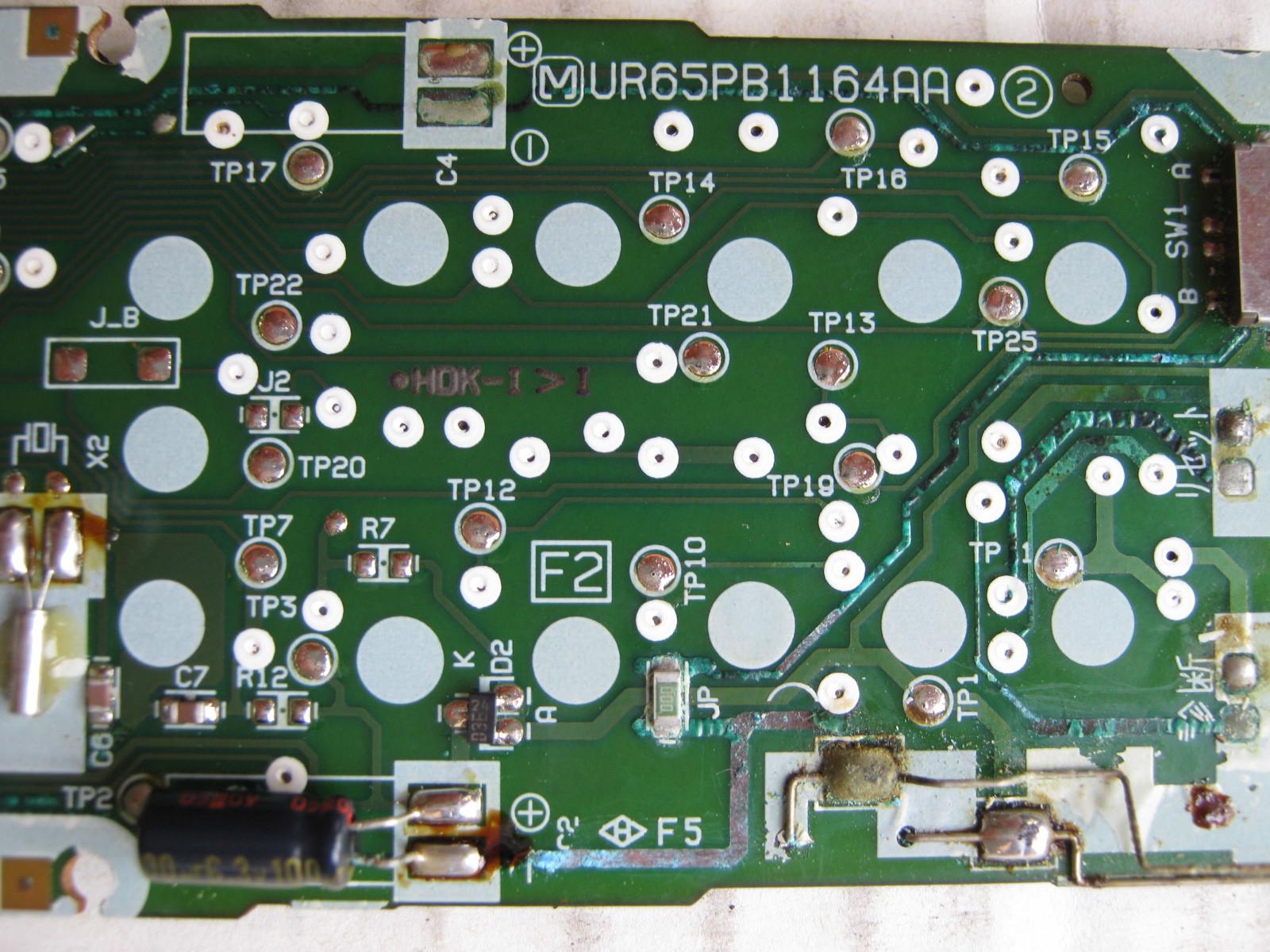 エアコンのリモコン元基板配線パターン表