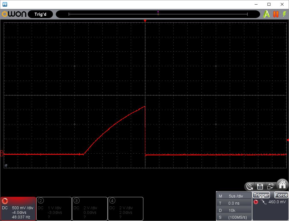 PICでタッチSW(第2弾)センス信号波形タッチ無し