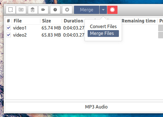 Curlew Media Converter 0.2.5 動画ファイルの結合
