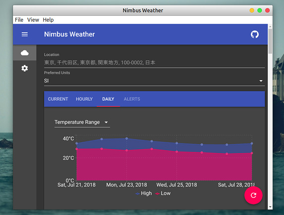 Nimbus Weather Ubuntu 天気アプリ