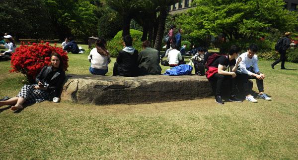 学生が憩う大書院の沓脱石