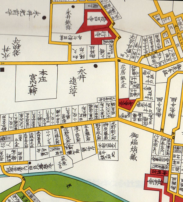 信濃町駅 周辺の切り絵図