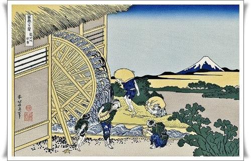 葛飾北斎「穏田の水車」