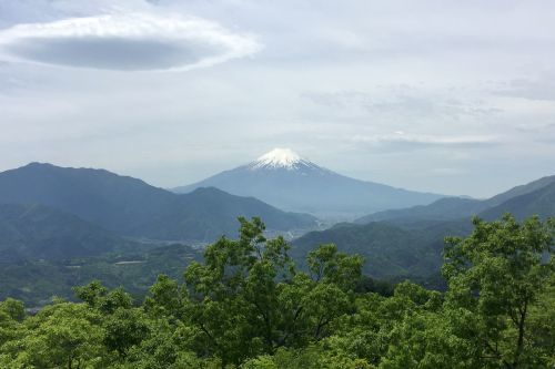 富士山とレンズ雲