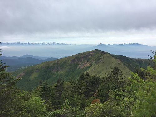 四阿山の肩から根子岳と北アルプス