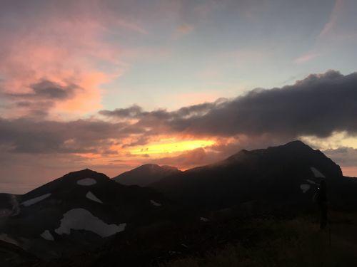 大日連峰と夕日