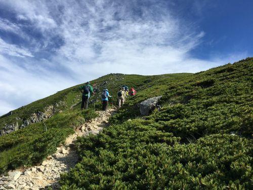 双六岳への登り