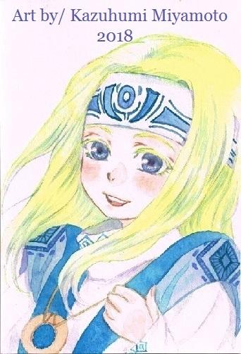 「天星神話」の金髪娘・隠。ジイチャンと一緒に北の大森林あたりに住んでいたころの姿です。5、6歳くらいを想定してます。