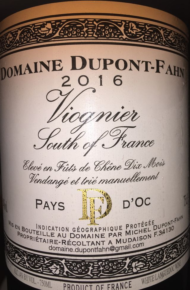 Vionier South of France Domaine Dupont Fahn 2016
