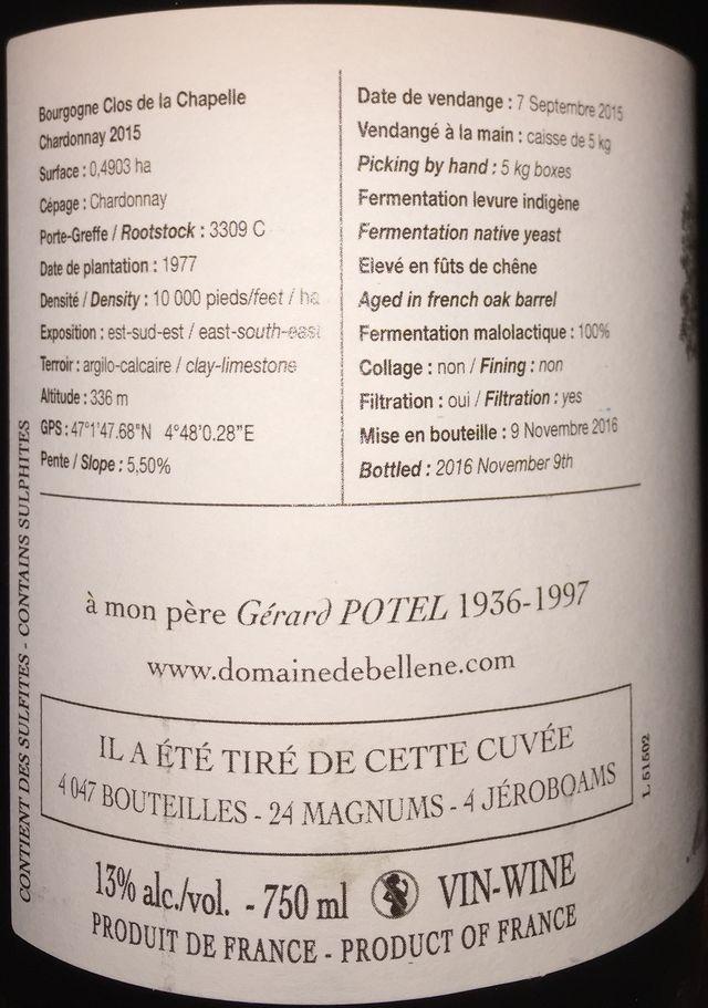 Bourgogne Clos de la Chapelle Chardonnay Domaine de Bellene 2015 part2