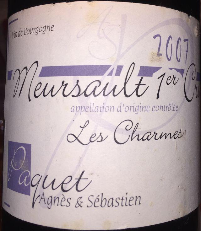 Meursault 1er Cru Les Charmes Paquet Agnes  Sebastein 2007
