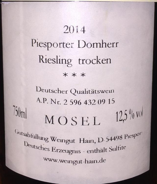Hain Pisporter Domherr Riesling trocken 2014 part2