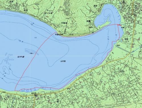 180511 山中湖カヌー軌跡