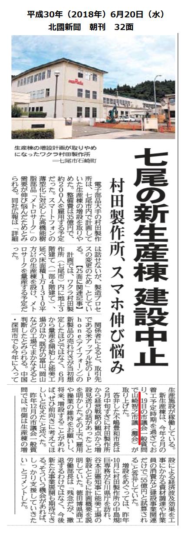平成30年6月20日(水)北國新聞 朝刊 32面