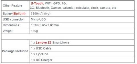 Lenovo Z5 スペックその4